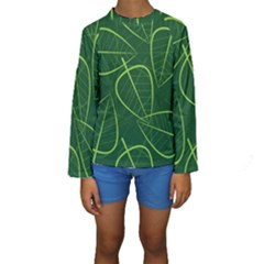 Vector Seamless Green Leaf Pattern Kids  Long Sleeve Swimwear