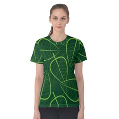 Vector Seamless Green Leaf Pattern Women s Cotton Tee