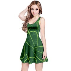 Vector Seamless Green Leaf Pattern Reversible Sleeveless Dress