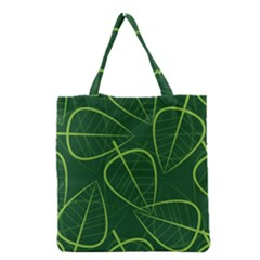 Vector Seamless Green Leaf Pattern Grocery Tote Bag