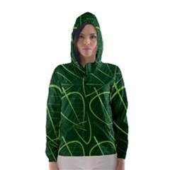 Vector Seamless Green Leaf Pattern Hooded Wind Breaker (women)