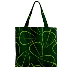 Vector Seamless Green Leaf Pattern Zipper Grocery Tote Bag