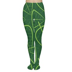 Vector Seamless Green Leaf Pattern Women s Tights
