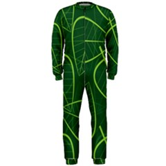 Vector Seamless Green Leaf Pattern OnePiece Jumpsuit (Men)