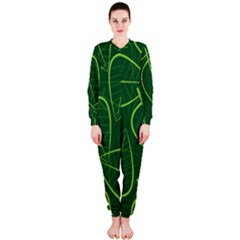 Vector Seamless Green Leaf Pattern Onepiece Jumpsuit (ladies)
