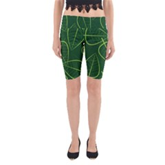 Vector Seamless Green Leaf Pattern Yoga Cropped Leggings