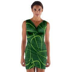 Vector Seamless Green Leaf Pattern Wrap Front Bodycon Dress
