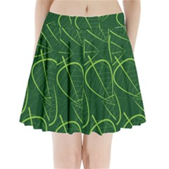 Vector Seamless Green Leaf Pattern Pleated Mini Skirt