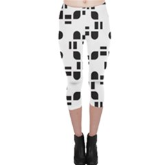 Black And White Pattern Capri Leggings