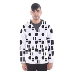 Black And White Pattern Hooded Wind Breaker (Men)