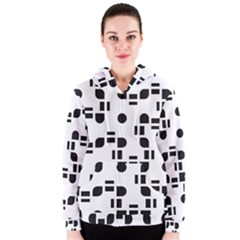 Black And White Pattern Women s Zipper Hoodie