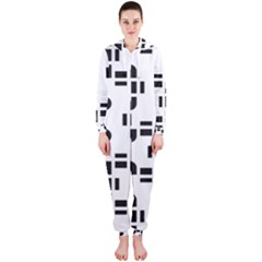 Black And White Pattern Hooded Jumpsuit (ladies)
