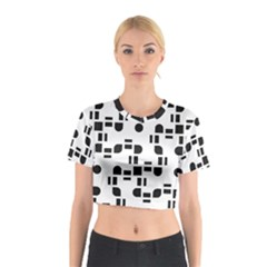 Black And White Pattern Cotton Crop Top
