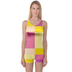 Colorful Squares Background One Piece Boyleg Swimsuit