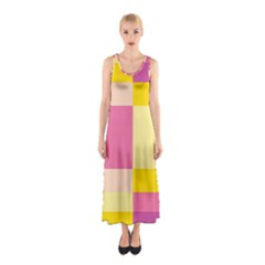 Colorful Squares Background Sleeveless Maxi Dress