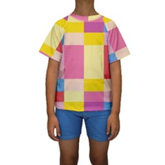 Colorful Squares Background Kids  Short Sleeve Swimwear