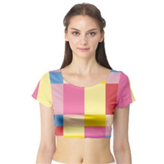 Colorful Squares Background Short Sleeve Crop Top (Tight Fit)