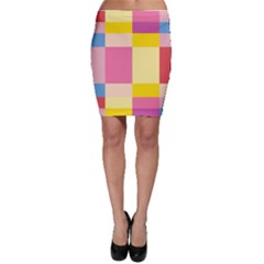 Colorful Squares Background Bodycon Skirt