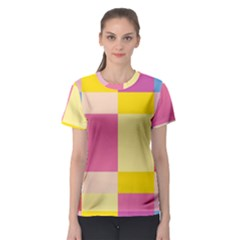 Colorful Squares Background Women s Sport Mesh Tee