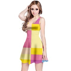 Colorful Squares Background Reversible Sleeveless Dress