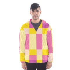 Colorful Squares Background Hooded Wind Breaker (men)