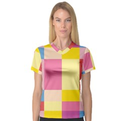 Colorful Squares Background Women s V-Neck Sport Mesh Tee