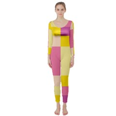 Colorful Squares Background Long Sleeve Catsuit