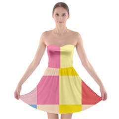 Colorful Squares Background Strapless Bra Top Dress