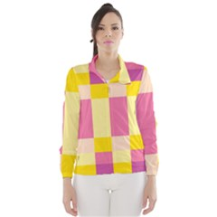Colorful Squares Background Wind Breaker (women)