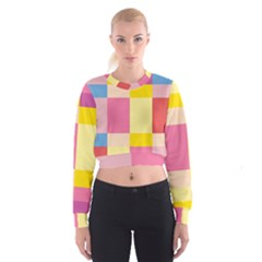 Colorful Squares Background Women s Cropped Sweatshirt