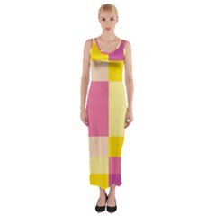 Colorful Squares Background Fitted Maxi Dress