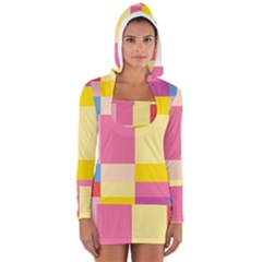 Colorful Squares Background Women s Long Sleeve Hooded T-shirt