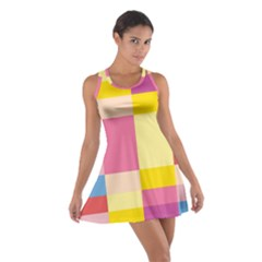 Colorful Squares Background Cotton Racerback Dress