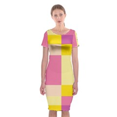 Colorful Squares Background Classic Short Sleeve Midi Dress