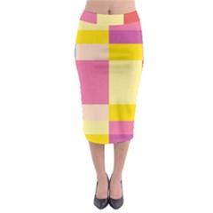 Colorful Squares Background Midi Pencil Skirt