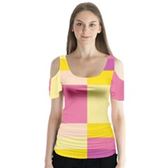 Colorful Squares Background Butterfly Sleeve Cutout Tee