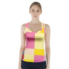 Colorful Squares Background Racer Back Sports Top