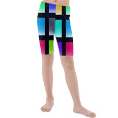 Colorful Background Squares Kids  Mid Length Swim Shorts