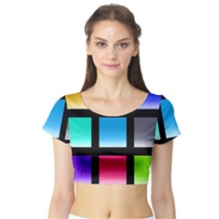 Colorful Background Squares Short Sleeve Crop Top (Tight Fit)