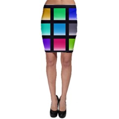 Colorful Background Squares Bodycon Skirt