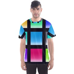 Colorful Background Squares Men s Sport Mesh Tee