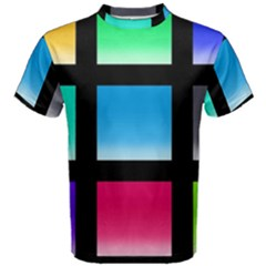 Colorful Background Squares Men s Cotton Tee