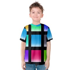 Colorful Background Squares Kids  Cotton Tee