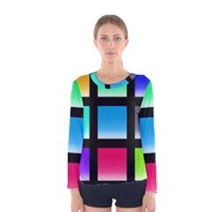 Colorful Background Squares Women s Long Sleeve Tee