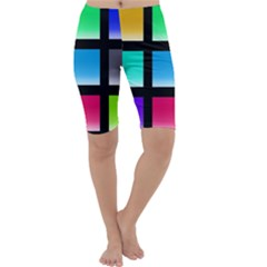 Colorful Background Squares Cropped Leggings