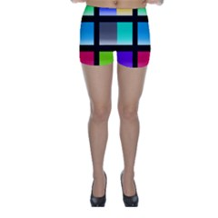 Colorful Background Squares Skinny Shorts