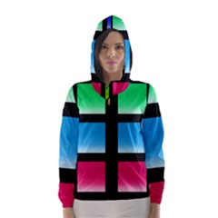 Colorful Background Squares Hooded Wind Breaker (Women)