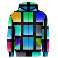 Colorful Background Squares Men s Zipper Hoodie