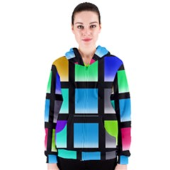 Colorful Background Squares Women s Zipper Hoodie