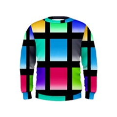 Colorful Background Squares Kids  Sweatshirt